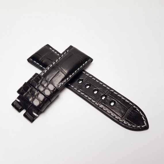 Padded Black Alligator (White thread) . Wide