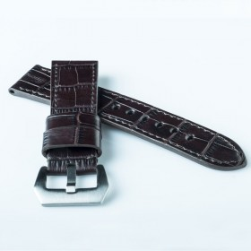 Flat crocodile printed calf leather Brown Wide