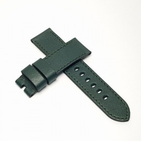 Flat Calf Leather Green Saffiano. Wide